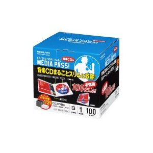 コクヨ CD/DVD用ソフトケース MEDIA PASS メディアパス 1枚収容100枚セット 白 EDC-CME1-100W|wow