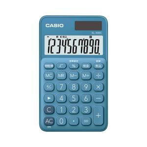 カシオ カラフル電卓 手帳タイプ 10桁 レイクブルー SL-300C-BUN|wow