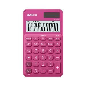 カシオ カラフル電卓 手帳タイプ 10桁 ビビッドピンク SL-300C-RDN|wow
