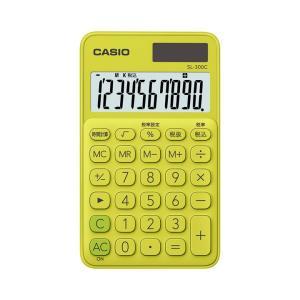 カシオ カラフル電卓 手帳タイプ 10桁 ライムグリーン SL-300C-YGN|wow