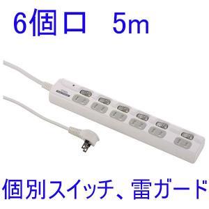 5m延長コード 節電タップ 6個口 5m HS-T1979W  (ohm00-1979) wowsystem