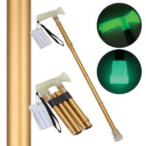 折たたみ式ステッキ 杖ぼたる 〔ゴールド(金)〕 蓄光タイプ 長さ5段階調節可|wpm