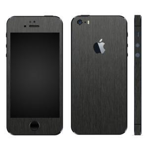 iPhoneSE iPhone5S iPhone5 スキンシール 全面 シール ケース カバー wraplus 選べる31色 ブラックブラッシュメタル|wraplus