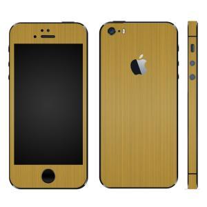 iPhoneSE iPhone5S iPhone5 スキンシール 全面 シール ケース カバー wraplus 選べる31色 ゴールドブラッシュメタル|wraplus