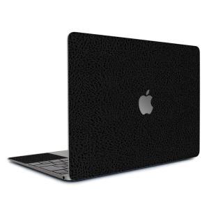 Macbook Air 13インチ ステッカー ケース カバー スキンシール (ブラック光沢レザー) wraplus 本革 合皮 ブランド