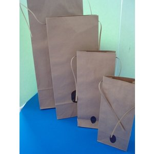 米袋 2キロ 20枚入 クラフト ヒモ付き 窓付き無地 角底|wrapping1