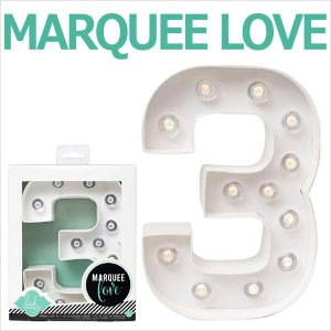 MARQUEE LOVE letters LEDイニシャルライトオブジェ マーキーライト マーキーレター ナンバー3 312023 wrappingclub1