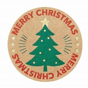 クリスマス ラッピング ギフトシール HEIKO シモジマ Xmasシール エバーグリーン 24枚入|シモジマラッピング倶楽部