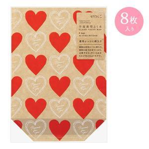 ラッピング・梱包用品 midori/ミドリ 片面透明袋 マチ付 表ハート柄 18798006|wrappingclub1