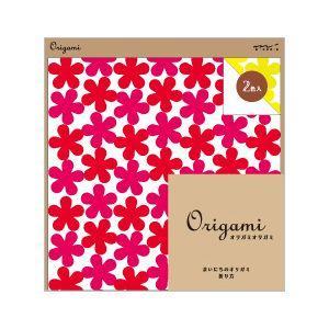 midori ミドリ Origami オリガミオリガミ 15cm角 花柄 赤・黄 2色入り ネコポス対応