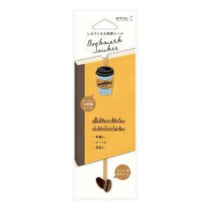 ブックマーカー midori ミドリ しおりシール 刺繍 コーヒー柄 82467006