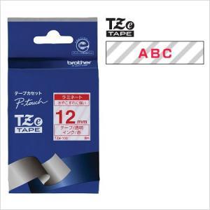 ラベルライター カートリッジブラザー ピータッチテープ12mm幅 透明 赤文字TZe-132