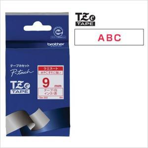 ラベルライター カートリッジブラザー ピータッチテープ9mm幅 白 赤文字TZe-222