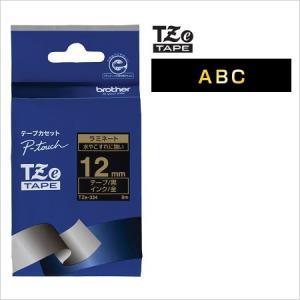 ラベルライター カートリッジブラザー ピータッチテープ12mm幅 黒 金文字TZe-334