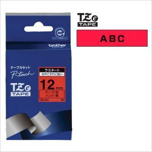 ラベルライター カートリッジブラザー ピータッチテープ12mm幅 赤 黒文字TZe-431