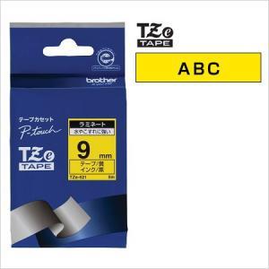 ラベルライター カートリッジブラザー ピータッチテープ9mm幅 黄 黒文字TZe-621