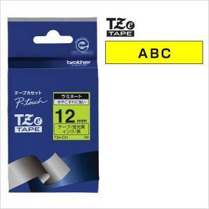 ラベルライター カートリッジブラザー ピータッチテープ12mm幅 蛍光黄 黒文字TZe-C31
