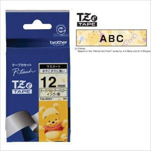 ラベルライター カートリッジブラザー ピータッチテープ12mm幅 ベビープーイエロー 黒文字TZe-...