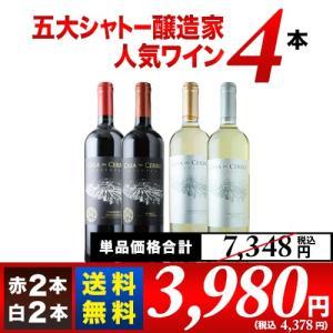 ワインセット 金賞ボルドーと五大シャトー醸造家ワイン5本セット(赤3本&白2本)送料無料 wine ...