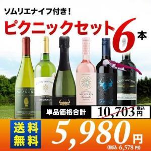 ワインセット ソムリエナイフ付きで外でも安心 ピクニックセット6本入り第10弾 送料無料 (6人用) 泡1本&ロゼ1本&白2本&赤2本 wine set|wsommelier