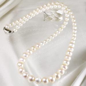 淡水真珠 ロングパールネックレス 60cm マチネーレングス ホワイト系 7.0-11.0mm A〜BB〜C  ポテト〜オーバル [n2][60cm ロング]|wsp|04