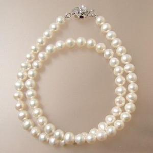 淡水真珠 パールネックレス ホワイト系 6.5-7.0mm BC ポテト バラクラスプ(silver) [n2]|wsp
