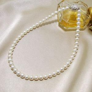 【即納】淡水真珠 パールネックレス ホワイト系 7.5-8.0mm BC ポテト バラクラスプ(silver) [n1]|wsp|05