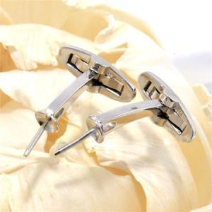 シンプル&スタイリッシュデザインのパールカフス金具 シルバー(silver)[n4](真珠 パール 加工 セミオーダー用)|wsp