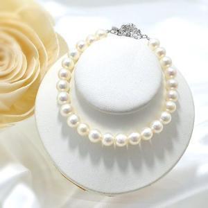 [選べる3サイズ] 淡水真珠 パ−ルブレスレット ホワイト系 6.5-7.0mm ポテト バラクラスプ シルバー(silver) [n3]|wsp
