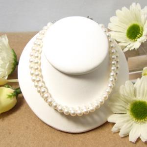 淡水真珠 2連 パールブレスレット ホワイト系 4.0-5.0mm ポテト クロスデザイン アジャスタークラスプ シルバー(silver) [n4]|wsp
