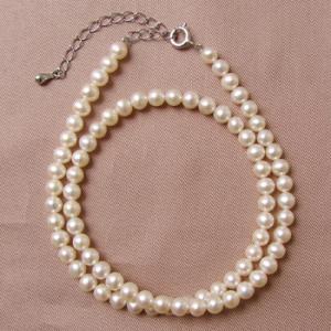 《キッズ用長さも選べる》淡水真珠 パールネックレス ホワイト系 4.0-5.0mm A〜BA〜B  ポテト 約30〜35cm/35〜40cm 引き輪・アジャスター(silver) [n3]|wsp