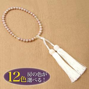 【即納】 淡水真珠 パール念珠(数珠)  ピンクパープル系 6.5-7.5mm A〜BA〜B 正絹(房12色から選択可)[n1]|wsp