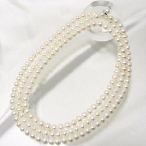 淡水真珠 ロングパールネックレス 120cm ホワイト系 7.0-7.5mm BB ポテト クリッカークラスプ(silver)[n3] [120cm ロング]|wsp