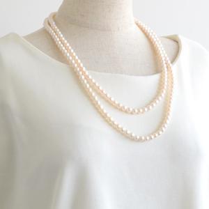 淡水真珠 ロングパールネックレス 120cm ホワイト系 7.0-7.5mm BB ポテト クリッカークラスプ(silver)[n3] [120cm ロング]|wsp|04