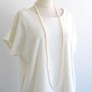 淡水真珠 ロングパールネックレス 120cm ホワイト系 7.0-7.5mm BB ポテト クリッカークラスプ(silver)[n3] [120cm ロング]|wsp|05