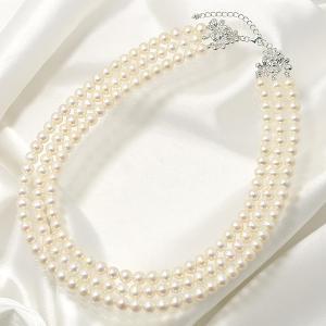 淡水真珠 3連ネックレス ジャッキーパール風 ホワイト系 6.5-7.0mm B〜CC ポテト アジャスタークラスプ(silver) [n3]|wsp