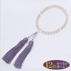 あこや本真珠 パール念珠(数珠) ホワイト系 8.0-8.5mm BBB〜C 正絹(房12色から選択可)[n2]|wsp
