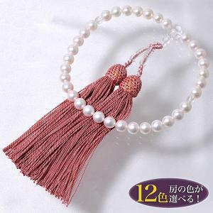 【即納】 あこや本真珠 パール念珠(数珠) ホワイト系 7.5-8.0mm BBB〜C 正絹(房12色から選択可)[n1]|wsp