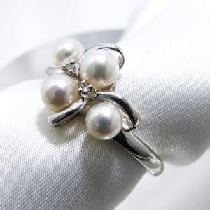 あこや本真珠 ベビーパールリング 指輪  ホワイト系 4.0...