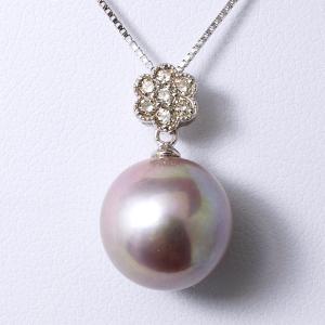 淡水真珠(有核) パールペンダントトップ(ヘッド) オーロラパープル(ナチュラル)系 12.4mm AAB  K18WG [n3]|wsp
