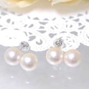 淡水真珠 ツートンカラー パールピアス 〜Bubble(バブル)〜 ホワイト系 9.0-10.0mm 大珠 K14WG  ホワイトゴールド [n4]|wsp|05
