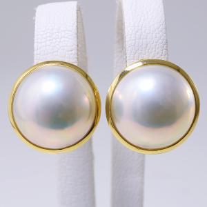 マベ真珠 パールイヤリング ホワイト系 14.2mm/14.3mm AAB  K18 ゴールド [n2]|wsp