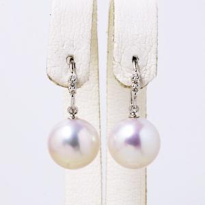 淡水真珠 ダイヤ付き フックパールピアス ホワイト系 9.0-9.5mm A〜BB  K18WG ホワイトゴールド [n3](真珠 ピアス)|wsp