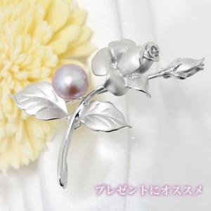 淡水真珠 バラモチーフ パールブローチ ピンク(ナチュラル)系 9.0mmUP A〜BA〜B シルバー(silver) [n4]|wsp