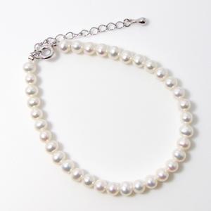 淡水真珠 ベビーパール ブレスレット ホワイト系 4.0-5.0mm ポテト 引き輪/アジャスター シルバー(silver) [n3](真珠 ブレスレット)|wsp