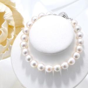 [長さが選べる] あこや真珠 パールブレスレット ホワイト系 7.5-8.0mm BBB〜C ラウンド〜セミラウンド マグネット式クラスプ シルバー(silver)[n3]|wsp