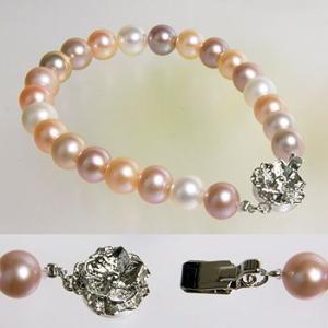 [選べる3サイズ] 淡水真珠 パールブレスレット フローラルマルチ系(ナチュラル) 7.5-8.0mm A〜BB〜C ポテト バラクラスプ シルバー(silver)[n3] wsp 05