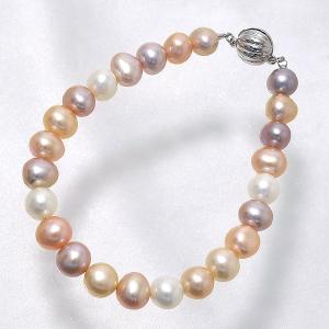 [選べる3サイズ] 淡水真珠 パールブレスレット  フローラルマルチ系(ナチュラル) 7.5-8.0mm A〜BB〜C マグネット式クラスプ シルバー(silver) [n3]|wsp