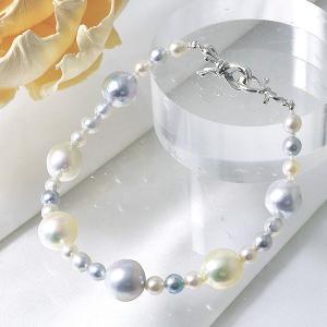 あこや真珠 パールブレスレット ナチュラルマルチ系 4.0-9.5mm BAC  クリップクラスプ(silver)  [n3]|wsp