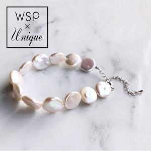 淡水真珠 コインパールブレスレット 〜Unique(ユニーク)〜 ホワイト(ナチュラル)系 12-13mm(silver)(本真珠)(バロックパール)[n2]|wsp
